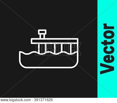 White Line Beach Pier Dock Icon Isolated On Black Background. Vector