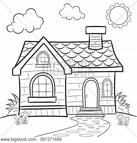 Old House Coloring Book For Adult And Children. Handdrawn. Backgrounds, Page.