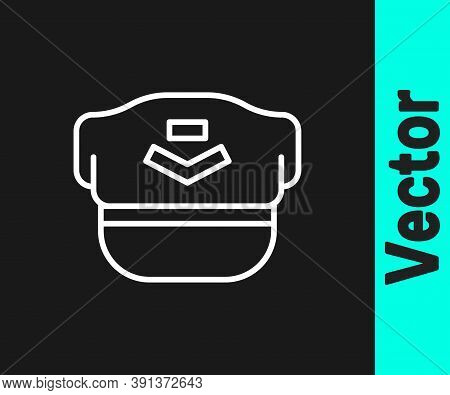 White Line Pilot Hat Icon Isolated On Black Background. Vector