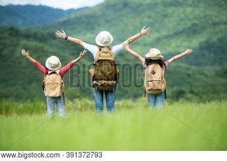 Group Family Children Travel Nature Trips Raise Arms And Standing See Mountain Outdoors, Adventure A