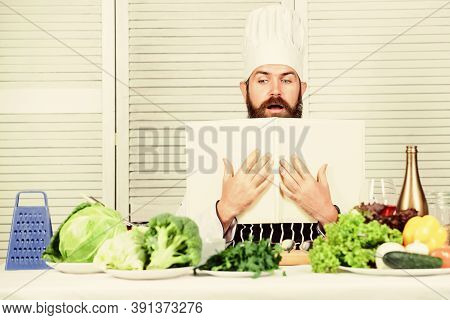 Start Culinary Career. Ultimate Cooking Guide Step By Step. Book Recipes Copy Space. Man Chef In Hat