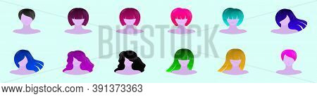 Set Of Coiffures Cartoon Icon Design Template With Various Models. Vector Illustration Isolated On B