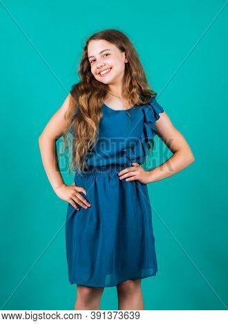 Fashion Portrait Of Kid. Stylish Fashion Child Baby Girl Kid In Dress. Stylish Cute Child Posing In