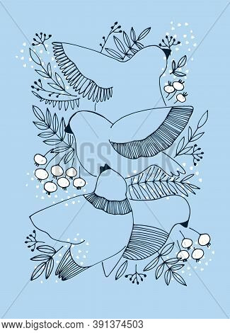 Decor Printable Art. Hand Drawn Vector Illustration With Birds, Berries And Snow On Blue Background.