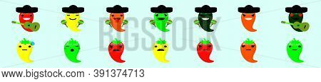Mexican Chili Pepper Mariachi Character Design Template With Various Models. Vector Illustration Iso