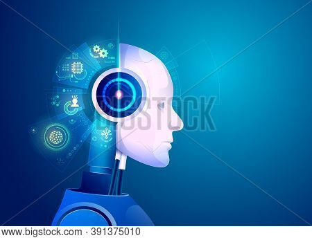 Concept Of Artificial Intelligence Technology, Graphic Of Robot With Hologram Brain