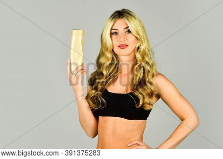 Woman Long Hair Hold Shampoo Bottle. Professional Tinted Hair Care Product. Pigment Enhances Cold Ti
