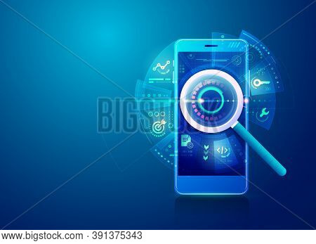 Concept Of Search Engine Optimisation Strategy Or Seo, Realistic Magnifying Glass With Digital Marke