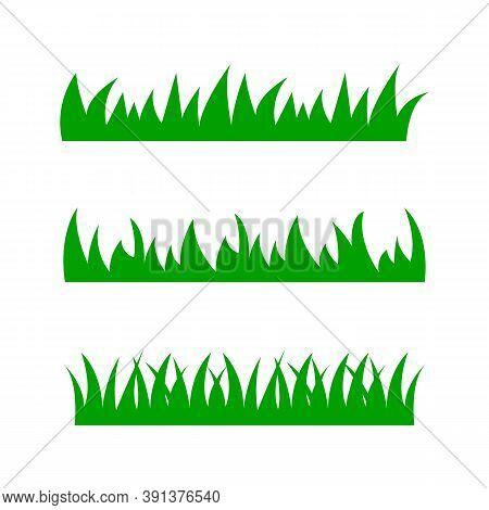 Set Of Grass. Green Grass On White Background. Cartoon Lawn Pattern.