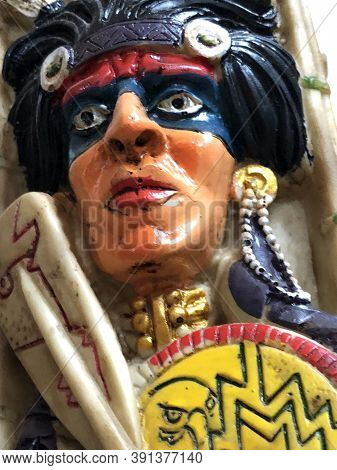 Traditional Indian Bobblehead Toy Kept For Sale In The Shops. Ancient Head Shaking Toys Decorated Wi