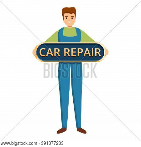 Car Repair Technician Icon. Cartoon Of Car Repair Technician Vector Icon For Web Design Isolated On