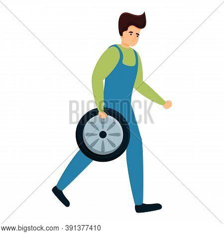 Auto Mechanic Carries Wheel Icon. Cartoon Of Auto Mechanic Carries Wheel Vector Icon For Web Design