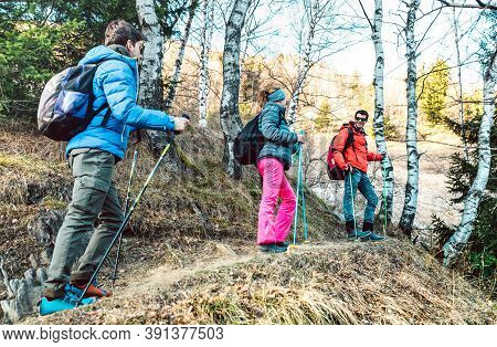 Friends Group Trekking In Forest On French Alps Before Sunset - Hikers With Sticks Walking Togeether