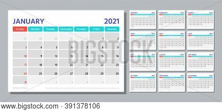Planner 2021 Year. Calendar Template. Week Starts Sunday. Vector. Table Schedule Grid. Yearly Statio