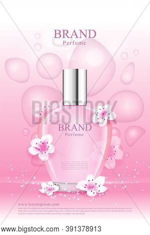 A Cherry Blossom Fragrance For Women With Pink Droplets Of Various Shapes