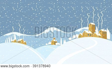 Snowy Winter Landscape With Small Village Church And Houses On The Snow-covered Hills. Vector Illust