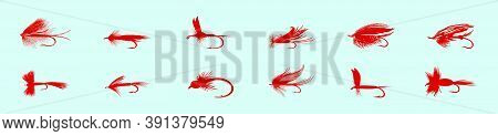 Set Of Fly Fishing Flies Cartoon Icon Design Template With Various Models. Vector Illustration Isola