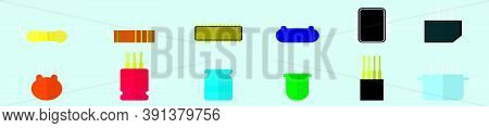 Set Of Transistors Cartoon Icon Design Template With Various Models. Vector Illustration Isolated On