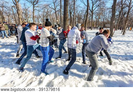 Samara, Russia - March 1, 2020: Shrovetide In Russia. Fighters Of Fisticuffs At The Festival Of Masl