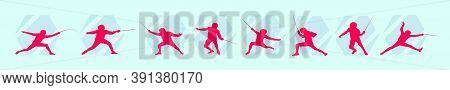 Set Of Fighting Swordsmen On Piste. Design Template Vector Illustration With Various Model Isolated