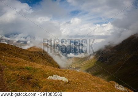 High Mountains In Obergurgl.it Is A Village In The Otztal Alps,austria. Located In The Municipality