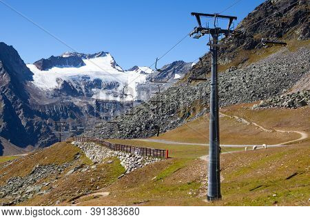 The Tiefenbach Glacier Located Near Solden In The Otztal Alps Of Tyrol, Austria. During The Winter,