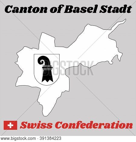 Map Outline And Coat Of Arms Of Basel-stadt, The Canton Of Switzerland With Name Text Canton Of Base