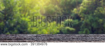 Wood Plank Table On Tree Bokeh For Background, Wooden Table For Banner Product Display, Advertise Ba