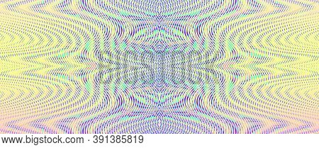 Surrealistic Rainbow Colored Background With Symmetric Linear Moire Ornament In Soft Multi Color Hal