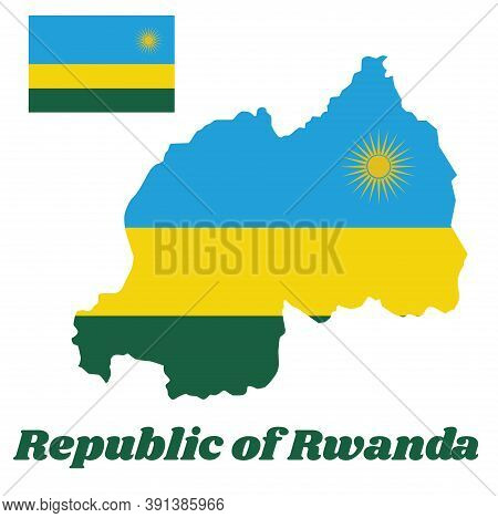 Map Outline And Flag Of Rwanda, A Horizontal Tricolor Of Blue, Yellow And Green With A Yellow Sun In