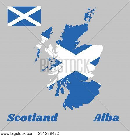 Map Outline And Flag Of Scotland, It Is A Blue Field With A White Diagonal Cross That Extends To The