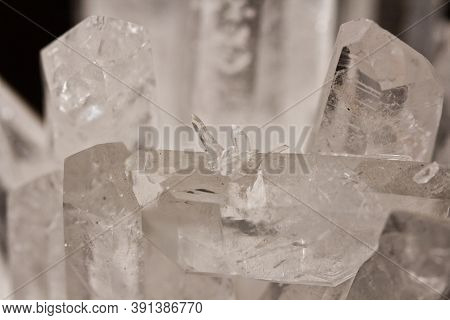Large Crystals Of Natural Transparent Stone Rock Crystal Close-up, Transparent Quartz In Crystals, R