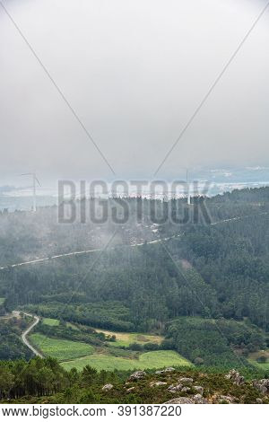 Aerial View Of The Ria De Muros Y Noya Estuary From The Muralla Mountain On A Foggy Summer Afternoon