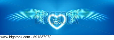Light Cyan Heart And Angel Wings On Blue Background. Glowing Fantasy, Valentines Day Attribute. Insc