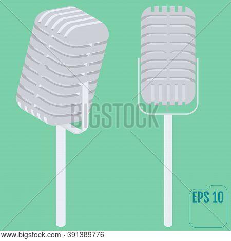Different Concert Microphones. Microphone Retro Vocal Radio Equipment. Isometric Flat Vector.