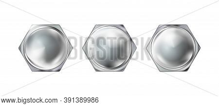 Set Gllossy Polished Metal Realistic Bolt Head, Screw Cap. Twisted In Surface Isolated On White Back