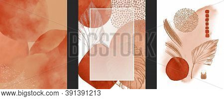 Set Of Watercolor Geometric Shapes, Tropical Large Leaves, Golden Lines, Dots On White Background. A