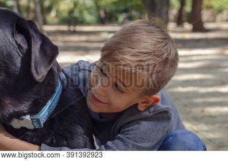 Happy Boy Hugs Black Labrador In Blue Collar Outside. Portrait Of An Eight-year-old Child With Blond