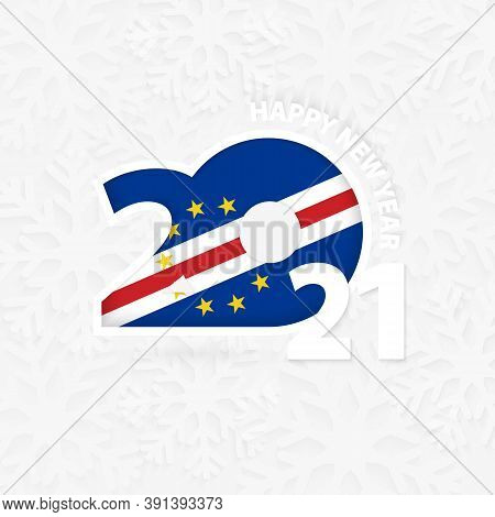 Happy New Year 2021 For Cape Verde On Snowflake Background. Greeting Cape Verde With New 2021 Year.