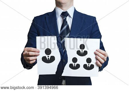 Businessman Ripped A Piece Of Paper As A Symbol Of Disagreement In The Team. Dismissing One Team Mem