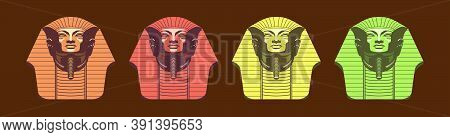 Set Of Egyptian Pharaoh Mask Cartoon Icon Design Template With Various Models. Vector Illustration I
