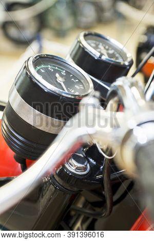 Motorbike Speedometer, Tachometer. Speedometer Of Motorcycle On A Steering Bike. Motorcycle Control