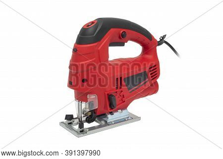 A Jigsaw Power Tool Isolated On White Background. Electric Jig Saw. Professional Electric Jig Saw Is