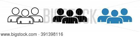 Crowd Of People Icon Vector. People Social Icon Set. User Group Network Sign. Persons, Group Symbol