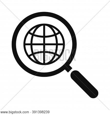 Global Search Web Icon. Magnifying Glass And Globe. Website Icon. Www Sign. Search Www Vector Icon.