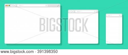 Browser Mockups Different Devices Web Window Mobile, Laptop And Tablet Screen In Internet. Realistic