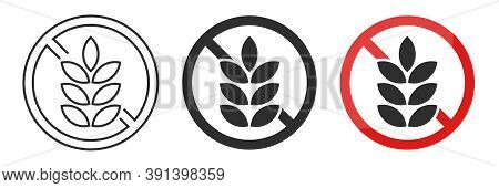 Gluten Free Vector Icon Set. No Wheat Or Gluten Symbols. Wheat Grains Isolated On White Background.
