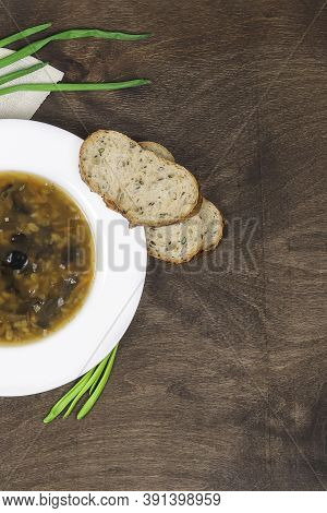 Lenten Quadragesimal Vegetarian Soup With Wild Mushrooms, Pearl Barley, Fresh Herbs And Healthy Cere