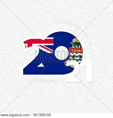 Happy New Year 2021 For Cayman Islands On Snowflake Background. Greeting Cayman Islands With New 202