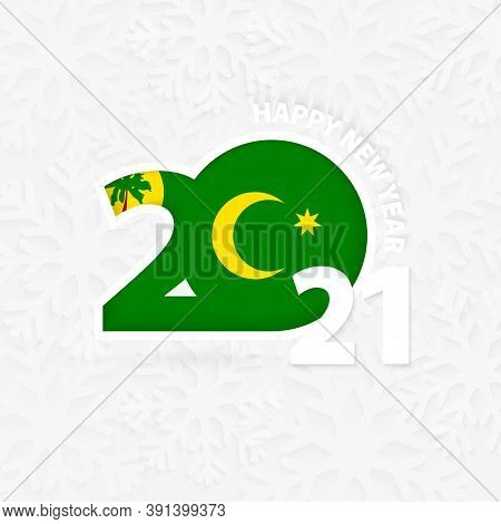 Happy New Year 2021 For Cocos Islands On Snowflake Background. Greeting Cocos Islands With New 2021